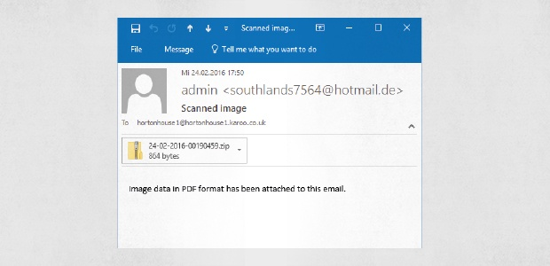 Un correo normal con malware adjunto