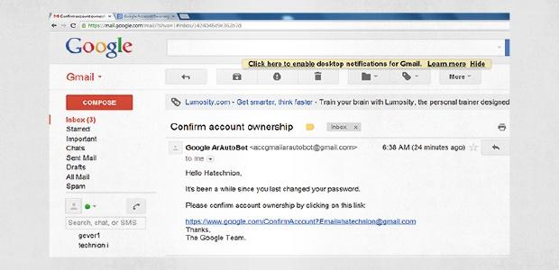 Eine Spear-Phishing-E-Mail, die vorgibt, eine Bestätigungs-E-Mail von Google zu sein