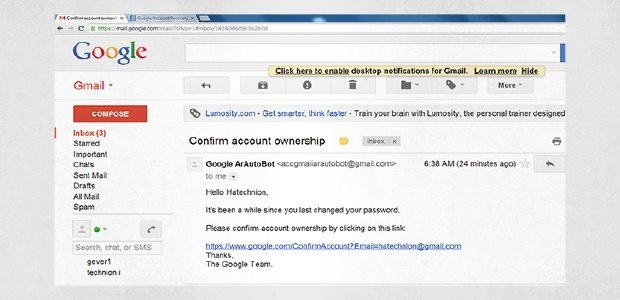 A spear phishing email pretending to be a Google confirmation email