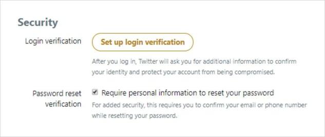 Persoonlijke gegevens vereisen om je wachtwoord te resetten inschakelen op Twitter