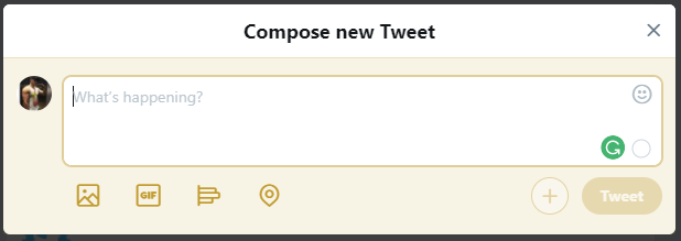 Capture d'écran de la boîte de dialogue de composition de Twitter