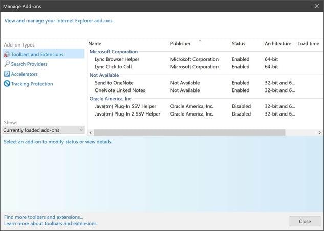 Écran de gestion des Add-ons d'Internet Explorer