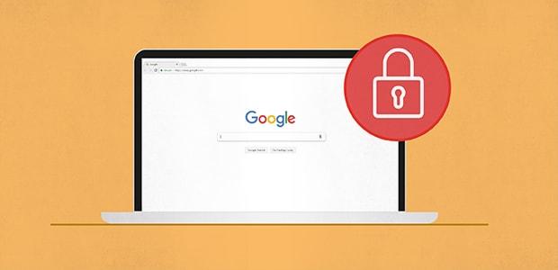 Un navigateur avec une icône de verrou: verrouillez vos comptes