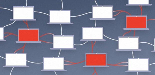 Diagramme d'un botnet sur le modèle pair à pair