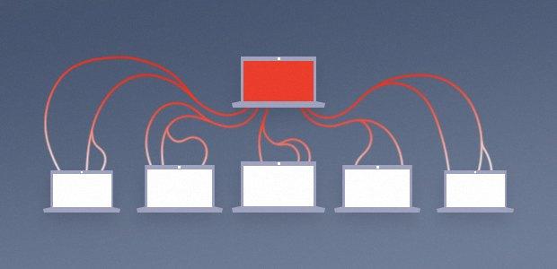 Diagramm eines Client-Server-Botnets