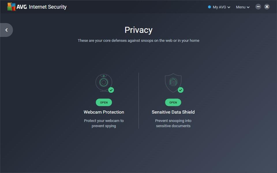 Captura de tela do Módulo Dados Sigilosos no AVG Internet Security