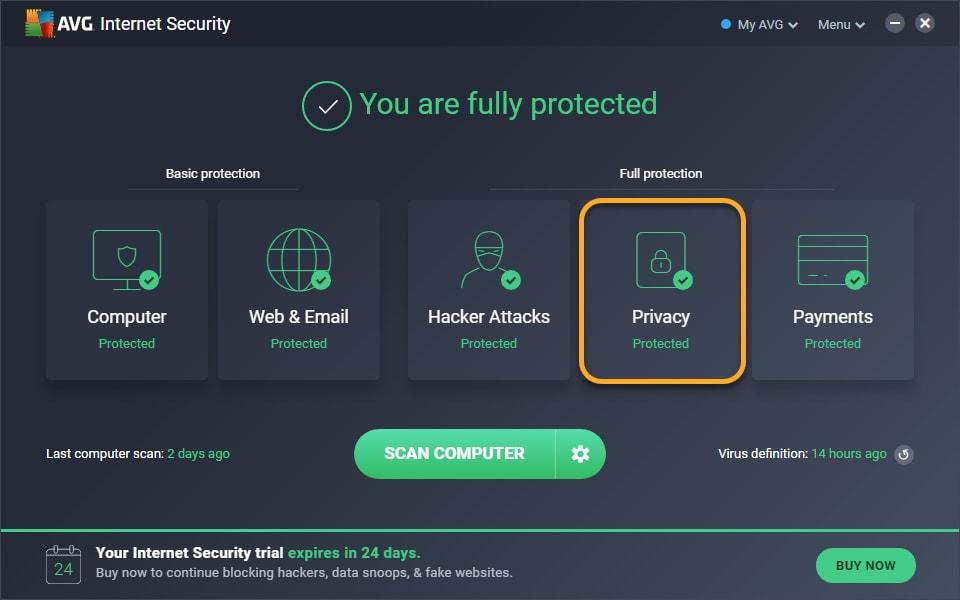 Captura de tela principal do AVG Internet Security com o menu Privacidade em destaque