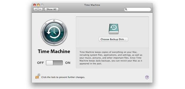 Captura de tela do Time Machine, onde você pode fazer backup do seu Mac