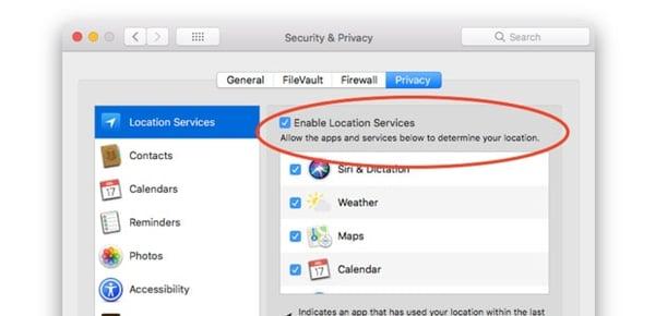 Cómo activar los servicios de localización en el Mac