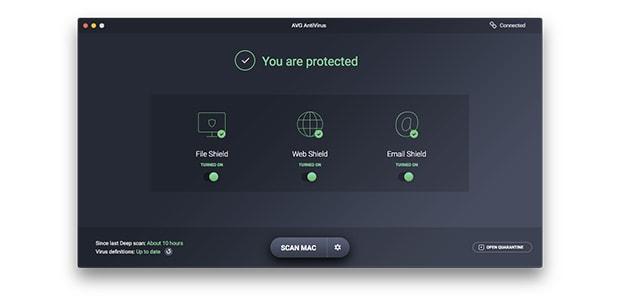 Interfaz de usuario de AVG AntiVirus para Mac