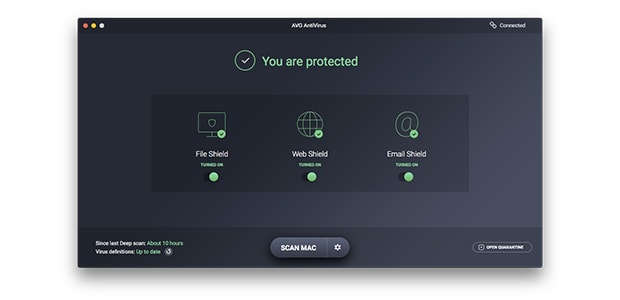 AVG AntiVirus for Mac user interface