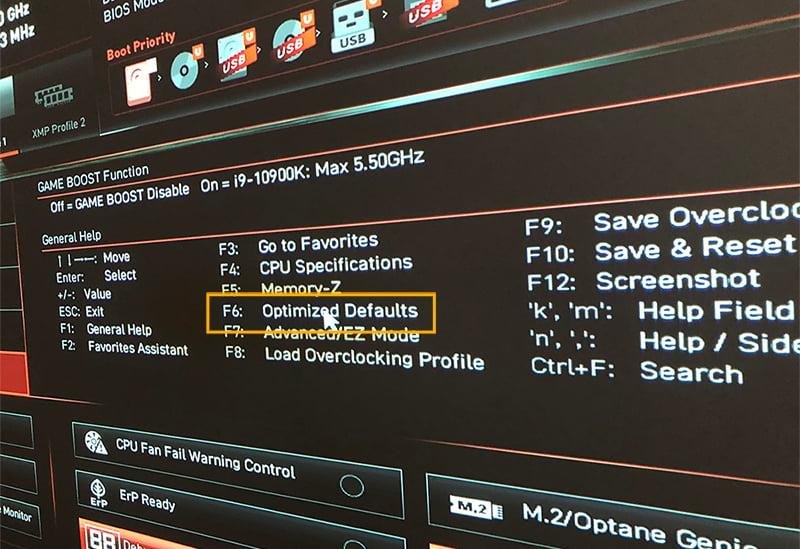 Loading BIOS/UEFI defaults