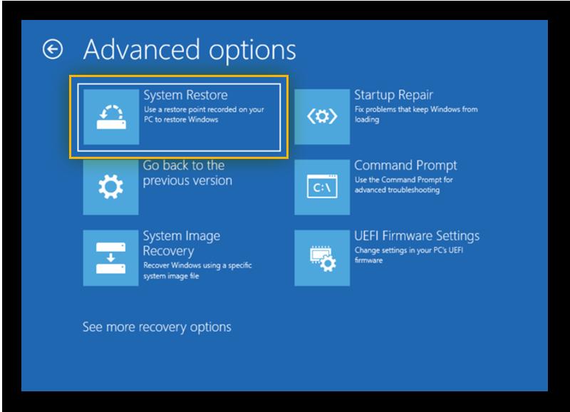 Advanced System Restore settings