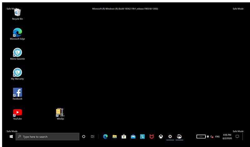 Safe Mode desktop